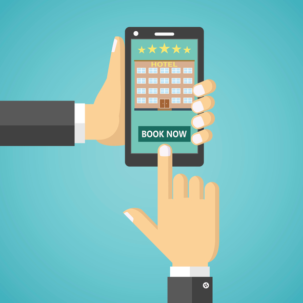 Illustration of booking a hotel room on a mobile device.